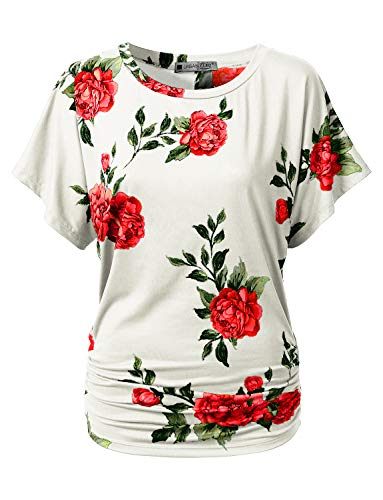 URBANCLEO Womens Boat Neck Rose Floral Dolman Top Shirts Ivory, 5XL by URBANCLEO