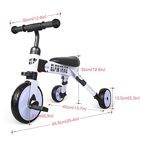 besrey Toddler Tricycle 2 In 1 Trike Baby Balance Bike Foldable Kids Riding Toys for Ages 12 Months Old and up Boys or Girls by besrey (Image #1)