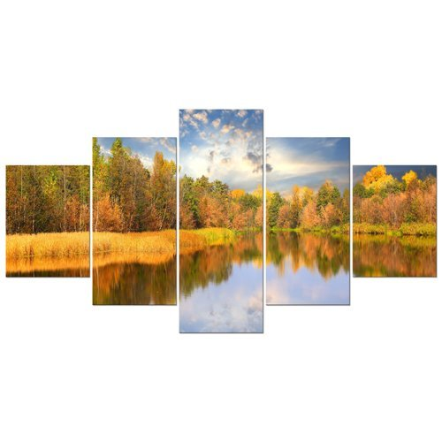 0f6bb59eceb Wieco Art Large Canvas Prints Wall Art The Autumn Forest and Lake Pictures  Paintings for Living Room Bedroom Bathroom Home Decor Modern 5 Panels  Gallery ...