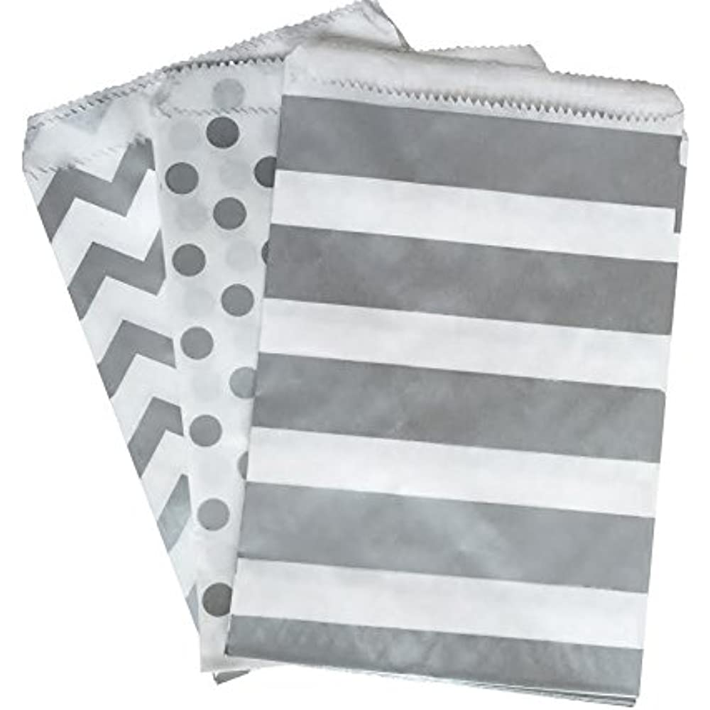 100 Flat Merchandise Paper Bags Silver Grey Chevron Stripes on White 4 x 6/""