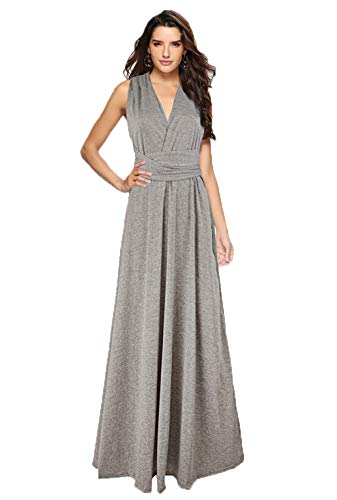 Clothink Women Convertible Wrap Around Maxi Long Formal Evening Dresses Gray