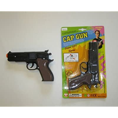 "1 NEW BLACK TOY CAP GUN 7"" POLICE PISTOL SUPER 007 REVOLVER FIRES 8 RING CAPS"