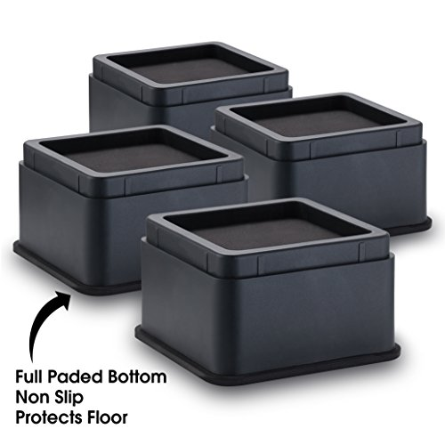 "iPrimio Bed and Furniture Risers – 4 Pack Square Elevator up to 2"" Per Riser and Lifts up to 10,000 LBs - Protect Floors and Surfaces – Durable ABS Plastic and Anti Slip Foam Grip – Stackable – Black by iPrimio (Image #6)"