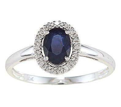 Weißgold ring mit saphir  10k Weißgold Blauer Saphir und Diamant Ring (1/10 cts): Amazon.de ...