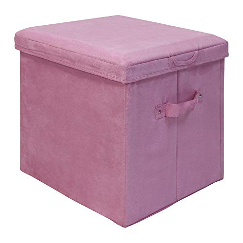 - Casual Home Seat Pad Folding Storage Ottoman. Micro Suede Cover, Pink