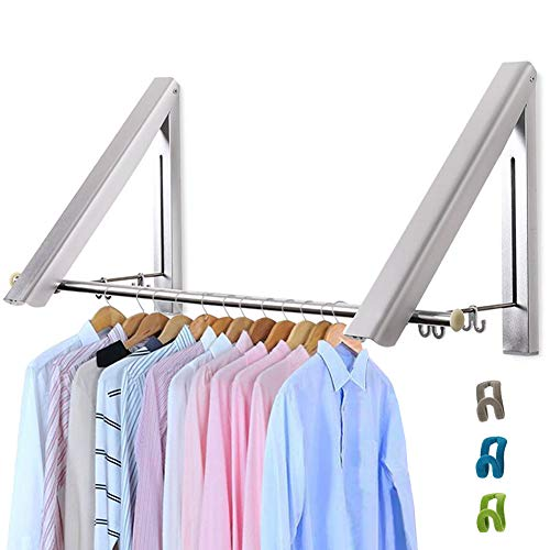 Livehitop Foldable Wall Mounted Clothes Rail 2 Pieces