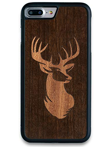 Old Roots Deer iPhone 7 Plus 8 Plus Real Wood Case with Slim Wooden Protective Cover and Shock Absorbing TPU Rubber Screen Protection