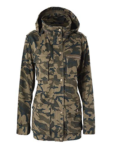 Escalier Women's Anorak Jacket Lightweight Drawstring Hooded Military Parka Coat (2X, Camouflage 2) - Parka Lightweight Hooded