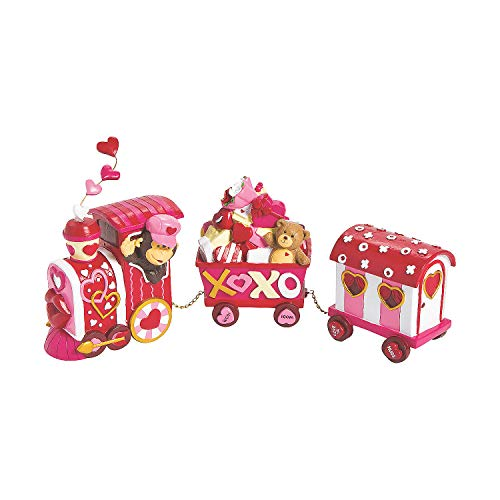 (Fun Express - Valentine Tabletop Train for Valentine's Day - Home Decor - Figurines - Molded - Valentine's Day - 3 Pieces)