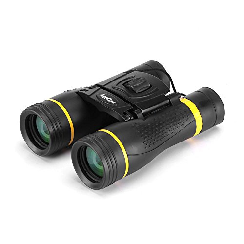 MeeQee12x40 Compact Binocular Telescope with FMC Bak4 Prism Low Light Night Vision Wide Angle Powerful Binocular for Bird Watching, Summer Camping, Travel, Sports and Concerts (Black and Yellow)