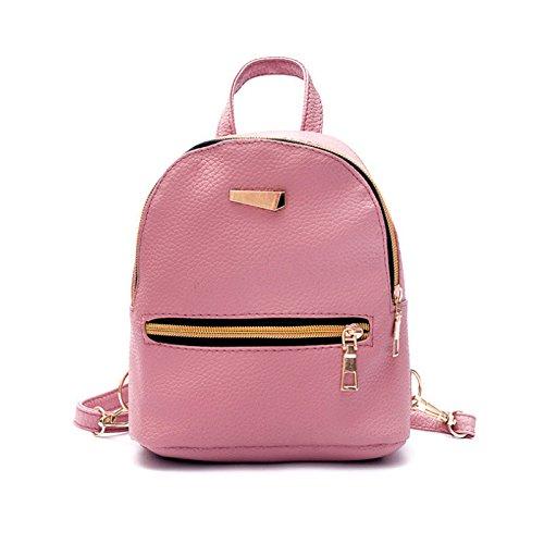 XENO-New Women Girl Backpack Travel PU Leather Handbag Rucksack Shoulder School Bag(pinkred) - Wemo Starter
