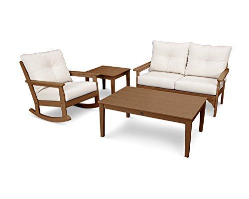 POLYWOOD Vineyard 4-Piece Deep Seating Rocker Set (Teak/Antique Beige) (Seating Teak Deep Set)