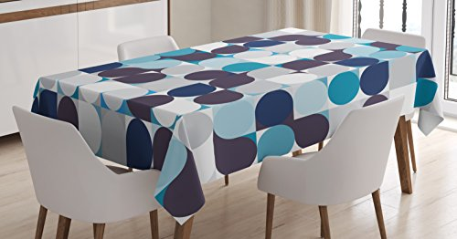 "Ambesonne Abstract Tablecloth, Retro Inner Circles Pattern with Squares Mosaic Style Old Fashion Print, Rectangular Table Cover for Dining Room Kitchen Decor, 60"" X 90"", Grey Teal"