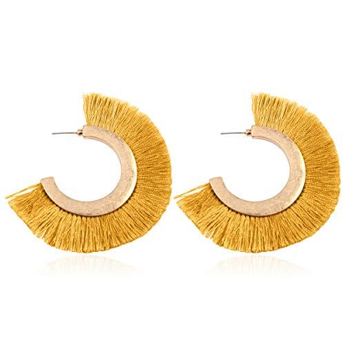 Bohemian Silky Thread Tassel Strand Fringe Statement Hoop Earrings - Lightweight Semi Circle Fan Threader Dangles (Fringe Hoops - Mustard)