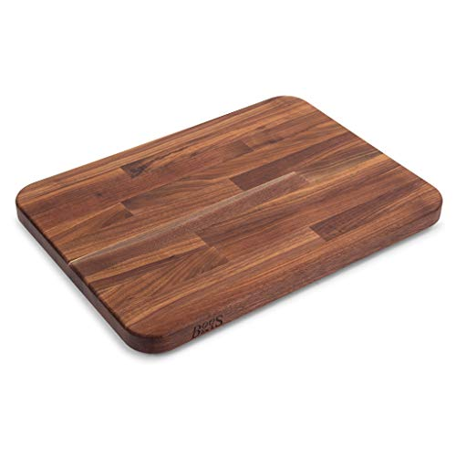 (John Boos Block WAL-2317 Blended Walnut Wood Edge Grain Cutting Board with Feet, 23.75 Inches x 17 Inches x 1.5 Inches)