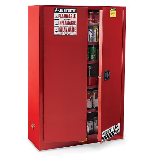 JUSTRITE MANUFACTURING 894511 Red 18 Gauge CR Steel Sure-Grip EX Combustibles Safety Cabinet for Paint and Ink, 2 Manual-Close Door, 60 gal Capacity, 43