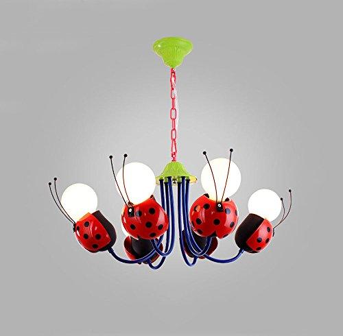 Huston Fan 6 Red Ladybug Cartoon Children's Room Blue Lamp Boy Girl Bedroom Chandelier Creative Protect Eye Ceiling Lights