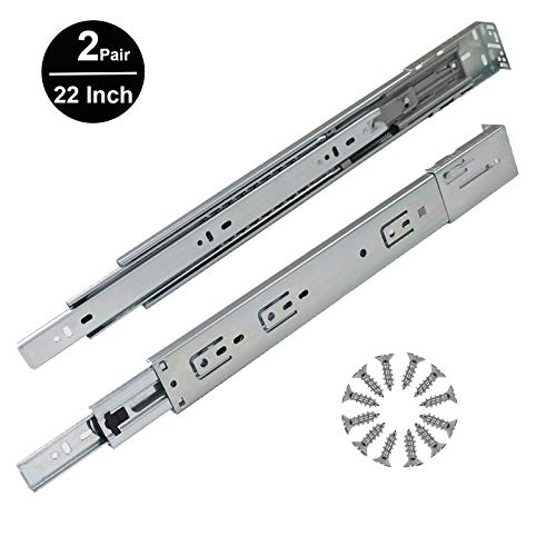 Gobrico 22in 78LB Capacity Full Extension Soft/Self Close Ball Bearing Rear/Side Mount Drawer Slides with Brackets - 2 Pair - Mount End
