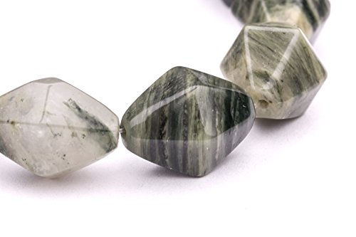 Faceted Double Cone Green Line Agate Beads Semi Precious Gemstones Size: 18x13mm Crystal Energy Stone Healing Power for Jewelry Making