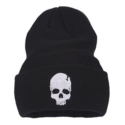 4306b542b20 Flammi Unisex Stretch Plain Knit Cuff Beanie Hat Skull Beanie Cap (Black  Unicorn). Black Unicorn. Black Skull B. Black Skull a