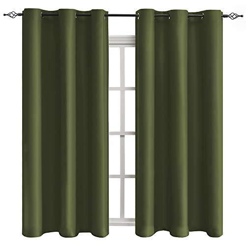 SHEEROOM Room Darkening Thermal Insulated Blackout Curtains Olive, Grommet Window Drapes for Bedroom Living Room Nursery Room, 1 Panel, 42x63 Inches ()