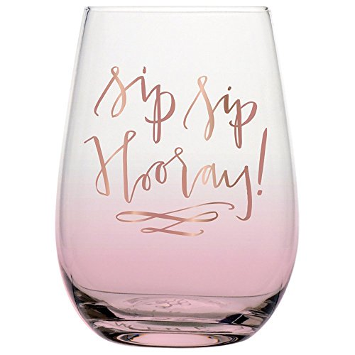 Sip Sip Hooray Stemless Wine Glass with Metallic Pink Print, 20 oz