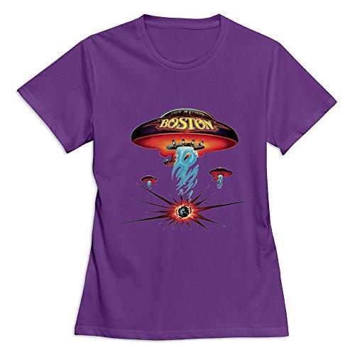 (Women's Boston Rock Band Classic Spaceship Distressed T-Shirt Size XS US Purple)