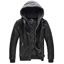 Wantdo Men's Leather Jacket with Removable Hood US Small Black Light