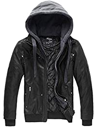 Men's Faux Leather Jacket with Removable Hood