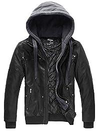 Wantdo Men's Leather Jacket with Removable Hood US Large Black Light