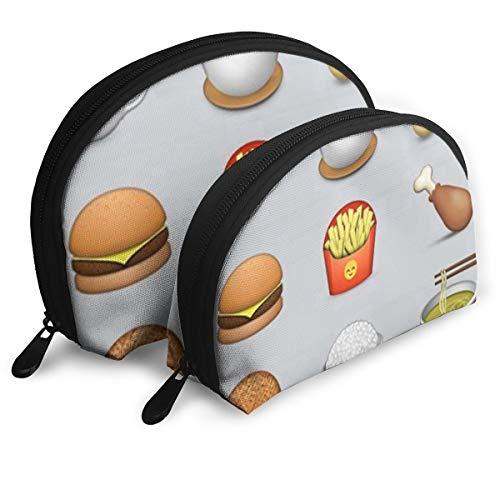 Makeup Bag Food Emoji Related Portable Shell Storage Bag For Girls Halloween Gift 2 Piece]()