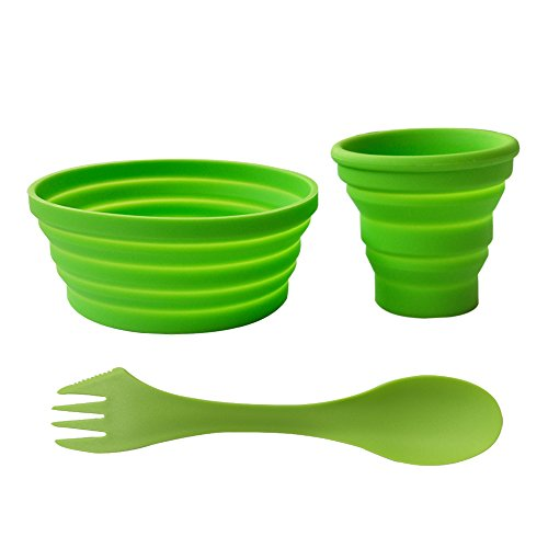 Ecoart Silicone Collapsible Bowl Cup Set with Spork for Outdoor Camping Hiking Travel, Green - Set of 3 ()