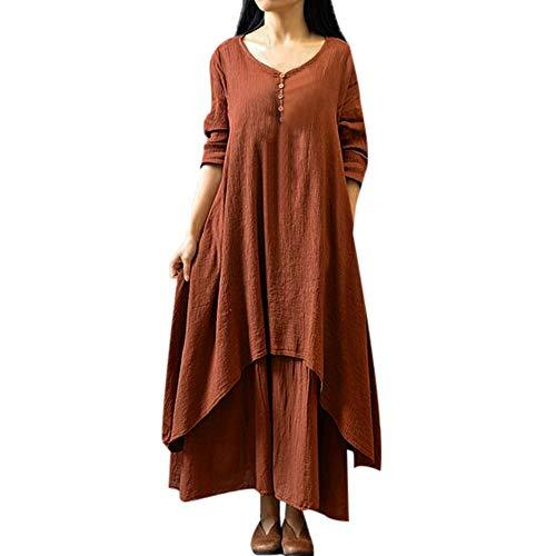 Skirt Cotton Bias Cut (TOTOD Clearance, Women's Plus Size Casual Irregular Loose Dress, Ladies Long Sleeve Cotton Linen Boho Long Dress)