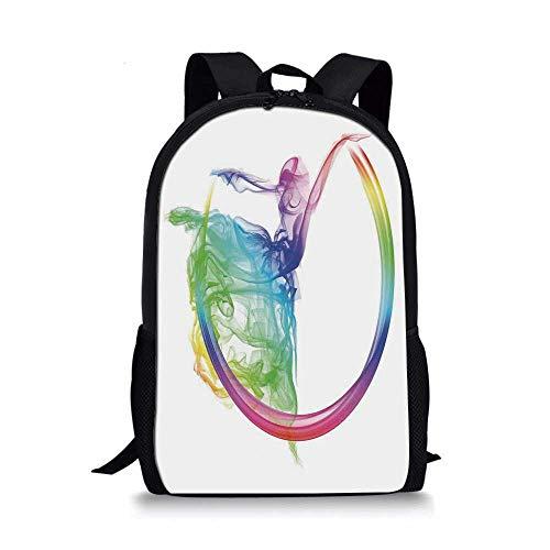 - Abstract Home Decor Stylish School Bag,Smoke Dance Shape Silhouette of Dancer Ballerina Rainbow Colors Fantasy Decorative for Boys,11''L x 5''W x 17''H