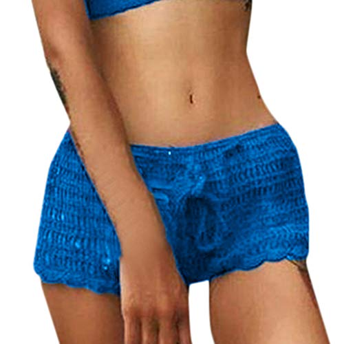 Mysky Summer Women Popular Sexy Hollow Out Pure Color Beach Swimming Trunks Casual Comfy Knit Boxer Hot Shorts Blue