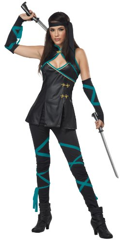 California Costumes Women's Sexy Ninja Adult, Black/Turquoise, X-Large]()