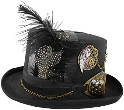 3541bb5c4649f5 Deluxe Steampunk Top Hat Gears Straps Goggles Feathers Brown Black Costume  Cap