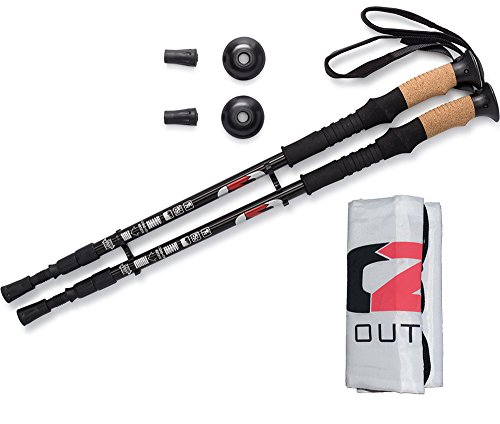 OUTZIE Hiking Poles Ultralight Collapsible Trekking Compact Durable Aircraft Aluminum High Performance Cork Grips | Shock Absorbing | Premium Walking Sticks Free E Book Bonus Carrying Bag
