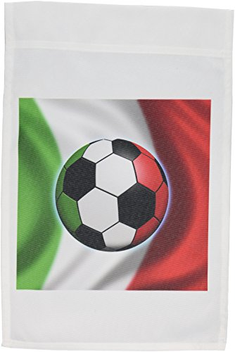 3dRose fl_155053_1 Italy Soccer Ball Concept Italian Flag Banner Waving National Country Garden Flag, 12 by 18-Inch by 3dRose