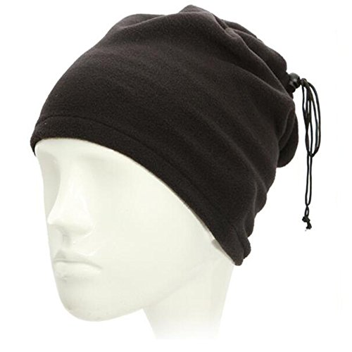 Fleece Neck Warmer - 1 Pcs Reversible Neck Gaiter Tube, Ear Warmer Headband, Mask & Beanie - Ultimate Thermal Retention, Versatility & Style- Performance Comfort Fleece Cover (Black)