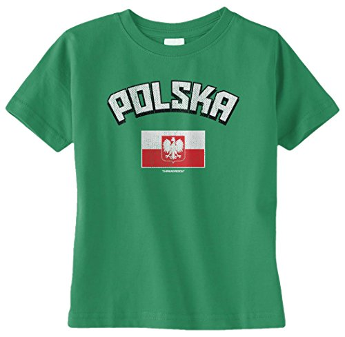 Threadrock Unisex Baby Polska Polish Flag Infant T-Shirt 24M Kelly Green