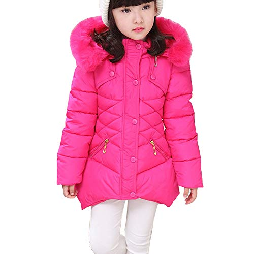 Toddler Kids Girls Winter Cotton Jackets Snowsuit Hooded Windbreaker Outwear with Soft Fur Hoodies FBA (Rose, 5-6T (Height:45.7