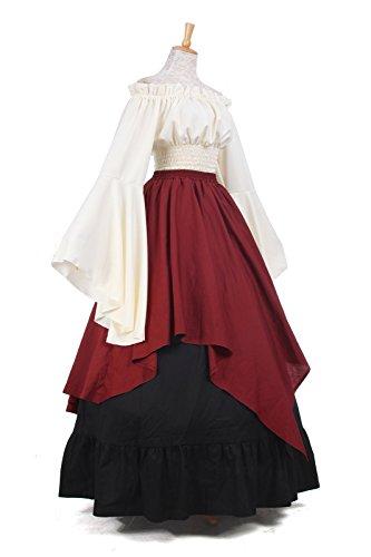 Kostüm Party Langarm Mittelalterliche Damen ni Kleid Kleid Maxi Gc229b Nuoqi Königin 8ABqwx