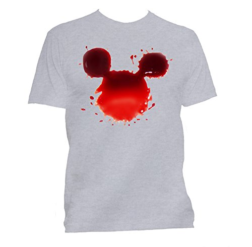 GullPrint Bloody Mickey Halloween T Shirt Small Grey