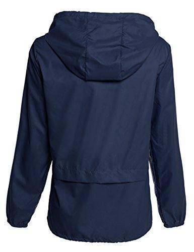 Meaneor Chaqueta impermeable para mujer chubasquero compresible outdoor con capucha chaqueta deportiva Azul oscuro