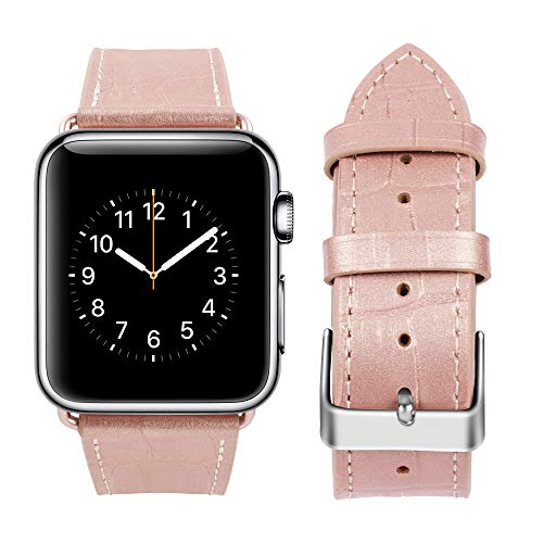 top4cus Genuine Leather iwatch Strap Replacement Band Stainless Metal Clasp, Compatible for 38mm 42mm Apple Watch Series 4(40mm 44mm) S3 S2 S1 and Sport Edition (Girlish Pink, 38mm)