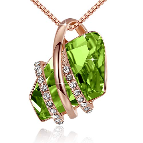 (Leafael Wish Stone Pendant Necklace Made with Swarovski Crystals (Peridot Green Rose Gold Plated) Gifts for Women August Birthstone)