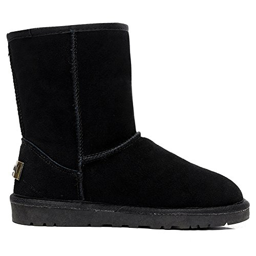 rismart Women Classic Mid-Calf Faux Fur Lined Suede Snow Boots Many Colors Available Black SN1025 US12 LXmnkxk4t
