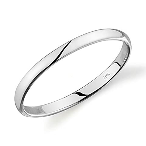 10k White Gold Light Comfort Fit 2mm Wedding Band Size 5 (Promise Ring Size 5 White Gold)