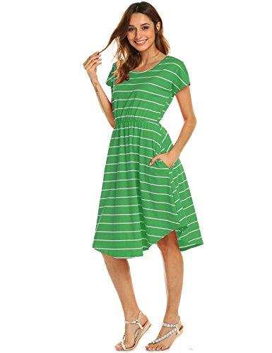 Halife Irish Shamrock Dress,Women's Summer Short Sleeve Scoop Neck Draped Swing Loose Flared Midi Dress Green,S